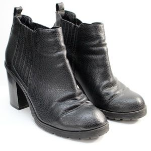 Sam & Libby Black Pebble Leather Ankle Boots